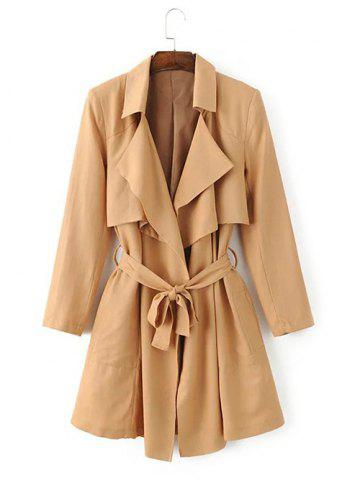 Tie Belt Overlay Wrap Trench Coat - Khaki - S