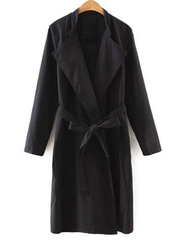 Chic Self-Tie Vertical Pockets Trench Coat