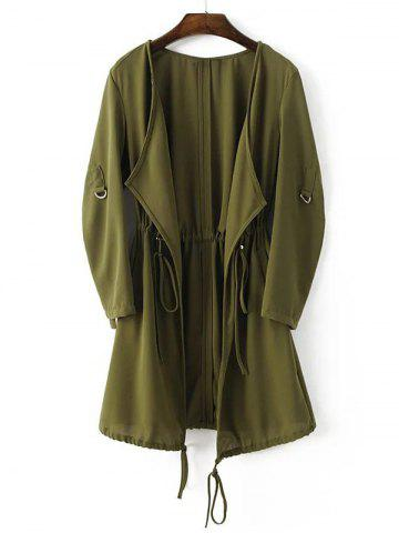 Outfit Adjustable Sleeve Drawstring Waist Trench Coat