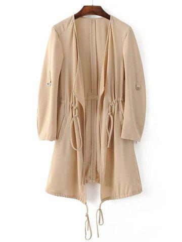 Shops Adjustable Sleeve Drawstring Waist Trench Coat