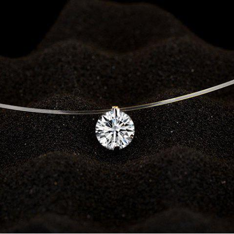 Fancy Solitaire Round Rhinestone Necklace - SILVER WHITE  Mobile
