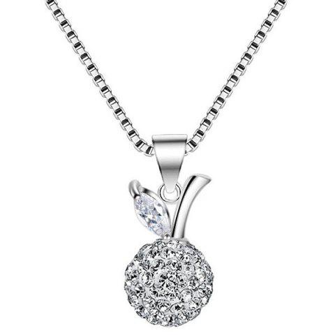 Trendy Rhinestone Leaf Fruit Ball Necklace SILVER WHITE
