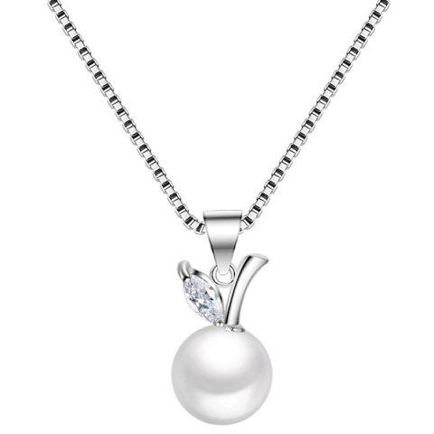 Buy Faux Pearl Rhinestone Fruit Necklace