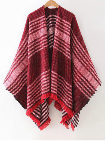 Unique Fringed Striped Cape Cardigan