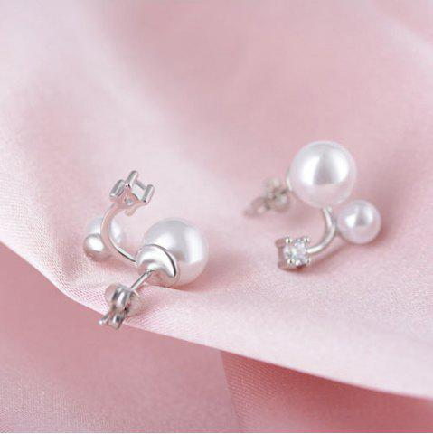 Outfits Double Faux Pearl Rhinestone Earrings PEARL WHITE