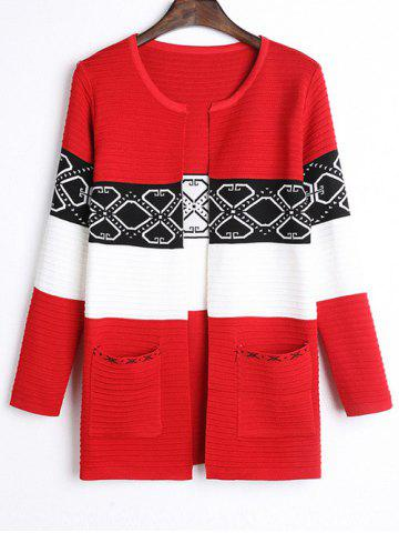 Cheap Front Pocket Ribbed Color Block Cardigan