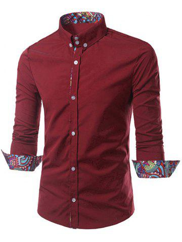 Hot Turn-Down Collar Ethnic Style Pattern Splicing Button-Down Shirt RED L