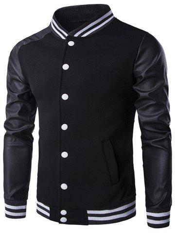 PU-Leather and Stripe Rib Splicing Stand Collar Jacket