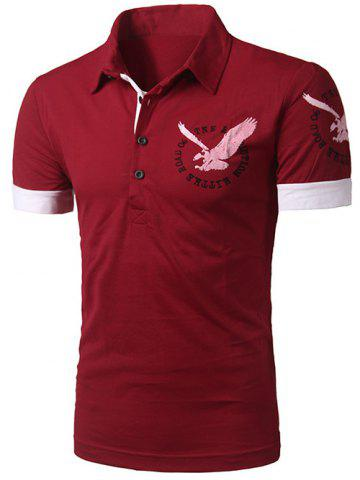 New Spliced Design Eagle Print Short Sleeve Polo T-Shirt RED 2XL