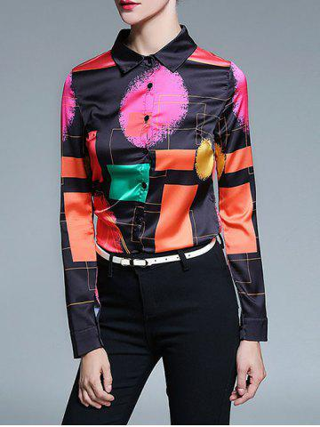 Latest Retro Abstract Color Block Satin Shirt BLACK 2XL