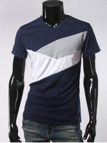 Col en V à manches courtes Color Block T-shirt Bleu Cadette 2XL