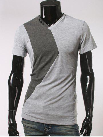 Online Button Embellished V Neck Short Sleeve T-Shirt LIGHT GRAY 2XL