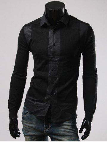 Latest Turn-Down Collar Splicing Long Sleeve Shirt BLACK 3XL