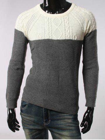 Store Geometric Jacquard Color Spliced Long Sleeves Sweater DEEP GRAY XL