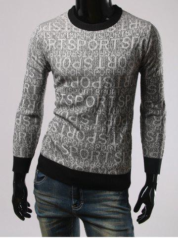 Outfits Letters Pattern Round Neck Long Sleeves Sweater