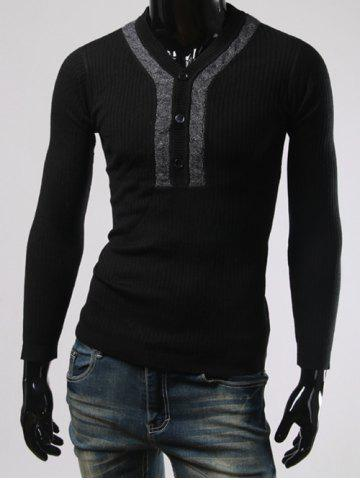 Chic Button Design V Neck Long Sleeves Sweater BLACK 3XL