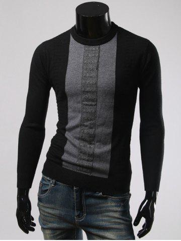 Affordable Color Splicing Round Collar Long Sleeve Sweater BLACK 3XL