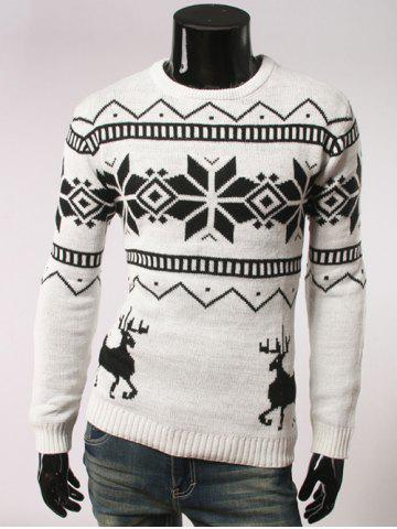 Chic Fawn and Snow Pattern Round Collar Christmas Sweater WHITE 2XL