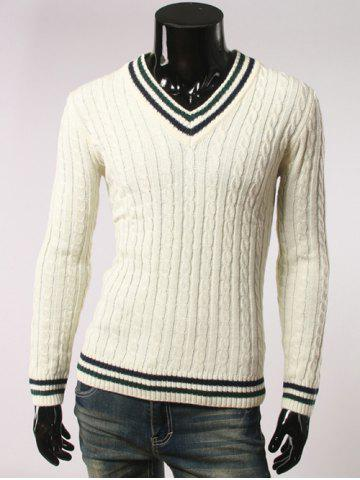 Shops Stripes Pattern Cable Knit V Neck Sweater WHITE 2XL