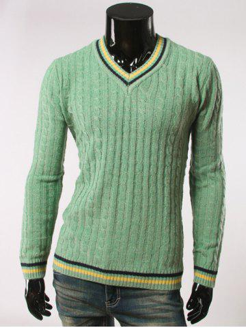 Light Green 2xl Stripes Pattern Cable Knit V Neck Sweater Rosegal