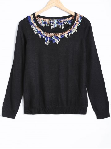 Unique Long Sleeve Jacquard Pullover Sweater BLACK S