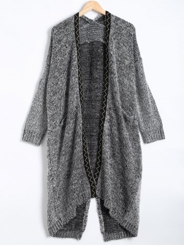 Fashion Pocket Design Wave Pattern Slit Long Cardigan GRAY ONE SIZE