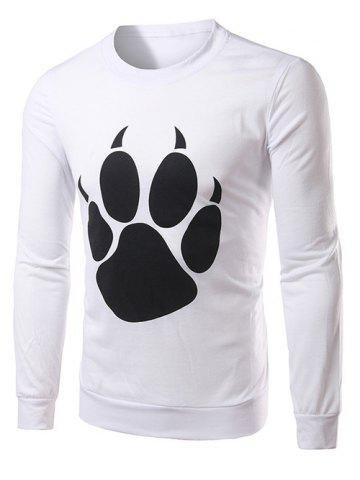 Outfits Bear Paw Print Long Sleeve Crew Neck Sweatshirt WHITE 2XL