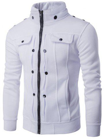 Affordable Stand Collar Buttoned Pleated Zip Up Jacket WHITE 2XL