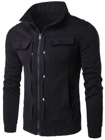 Latest Stand Collar Buttoned Pleated Zip Up Jacket - BLACK L Mobile