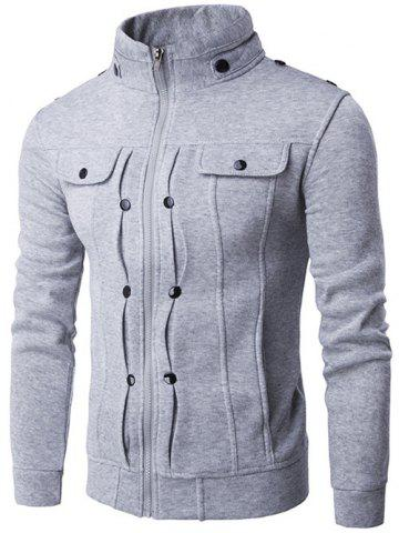 Online Stand Collar Buttoned Pleated Zip Up Jacket LIGHT GRAY 2XL