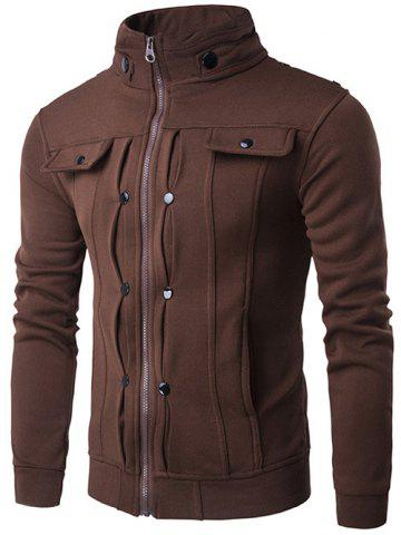 Best Stand Collar Buttoned Pleated Zip Up Jacket COFFEE 2XL