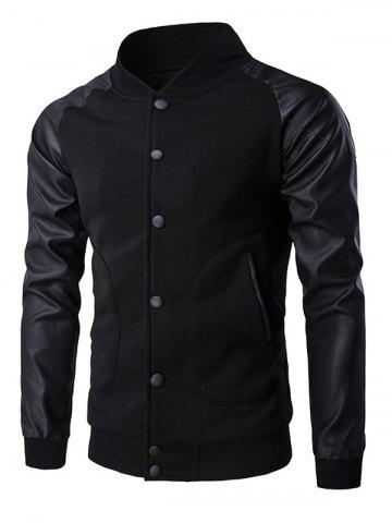 Button Up PU Veste en cuir Insert manches raglan