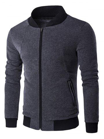 Latest Stand Collar Rib Inset Zip Up Jacket