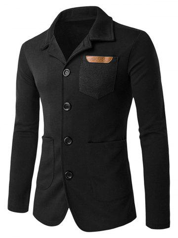 Cheap Patch Pocket Long Sleeve Single Breasted Jacket