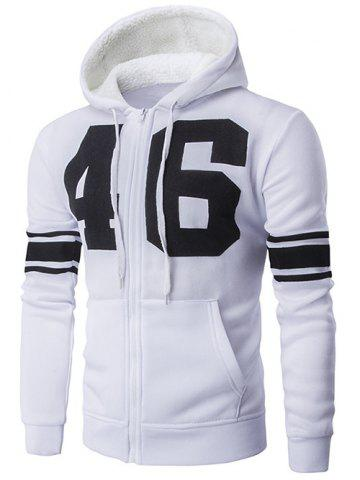 Online Striped Sleeve Zip Up Graphic Hoodie