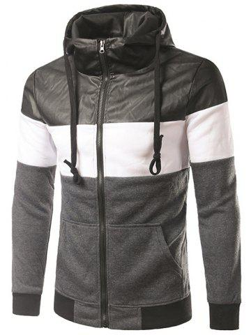 Shops Faux Leather Insert Drawstring Cool Zip Up Hoodies for Men DEEP GRAY 2XL
