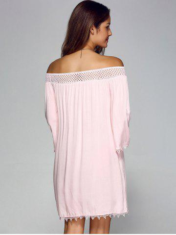 Buy Off Shoulder Lace Trim Tunic Casual Shift Dress - XL PINK Mobile