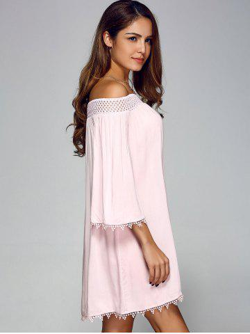 Store Off Shoulder Lace Trim Tunic Casual Shift Dress - XL PINK Mobile