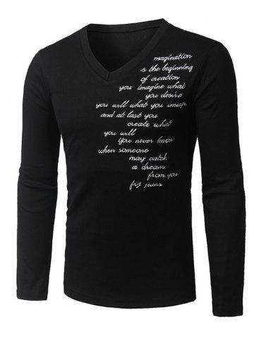 Store V-Neck Long Sleeve Letter Embroidered T-Shirt