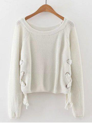 Store Late Fall Circle Hoop Lace-Up Sweater