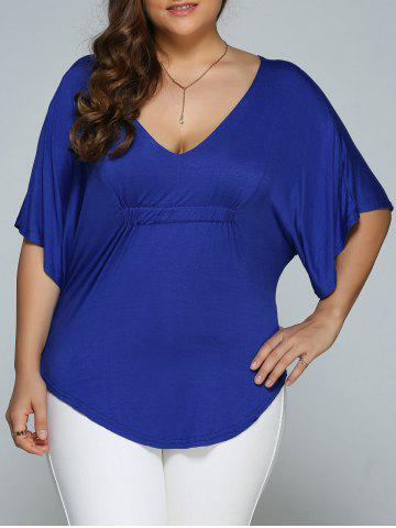 Discount Plus Size Batwing Sleeve V Neck Top