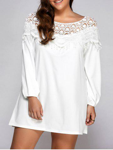 Outfit Plus Size Fringe Lace Splice Mini Shift Dress