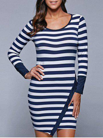 Buy Long Sleeve Stripe Irregular Mini Bodycon T-Shirt Dress