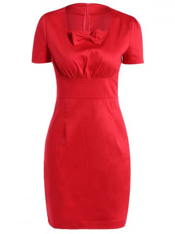 Fashion Vintage Square Neck Bowknot Draped Pin Up Dress RED XL