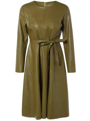 A Line Long Sleeve Belted PU Leather Dress - Olive Yellow - S