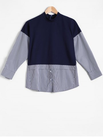 Shops Stripe Design Spliced Pullover Sweatshirt