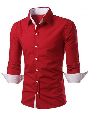 Affordable Convertible Collar Long Sleeve Back Pleat Shirt RED 2XL