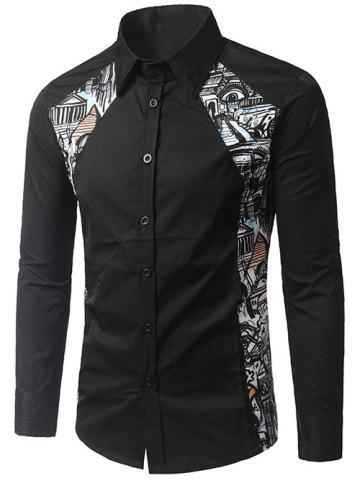 Hot Button Up Printed Paneled Shirt BLACK XL