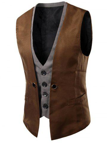 Shops Plaid Insert Buckled Single Breasted Waistcoat