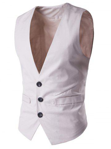 Cheap Buckle Back Mock Pocket Single Breasted Formal Waistcoat